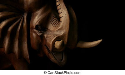 Charging Elephant Wood Sculpture - Passing a hand-carved...
