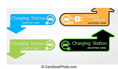 Charging for electric cars for home. the pointer where is located. Logo Road sign template of electric vehicle. Vector illustration of a minimalistic flat design