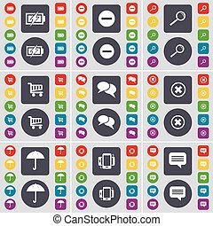 Charging, Minus, Magnifying glass, Shopping cart, Chat, Stop, Umbrella, Smartphone, Chat icon symbol. A large set of flat, colored buttons for your design. Vector