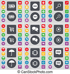 Charging, Minus, Magnifying glass, Shopping cart, Chat, Stop, Umbrella, Smartphone, Chat icon symbol. A large set of flat, colored buttons for your design.