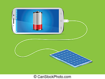 Charging mobile phone Solar charger - Charging a mobile ...
