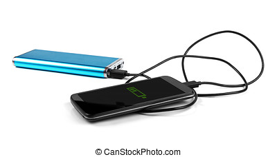 charging mobile phone with portable power bank