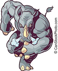 Vector Cartoon Clip Art Illustration of an Anthropomorphic Mascot Rhino or Rhinoceros Charging Forward