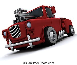 charicature, klasyk, 50\'s, pickup, supercharged, wózek