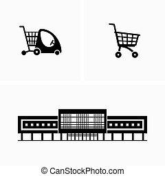 chariot achats, épicerie, centre commercial, charrettes