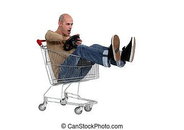 chariot, achats, conduite, homme