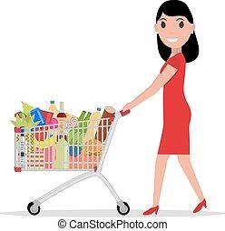 chariot, achats femme, entiers, vecteur, épicerie