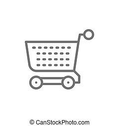 chariot, achats, isolé, icon., fond, charrette, ligne blanche
