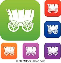 chariot, ancien, couleur, collection, ensemble, occidental, couvert