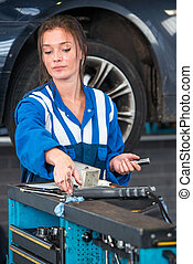 chariot, atteindre, outillage, garage, outils, mécanicien