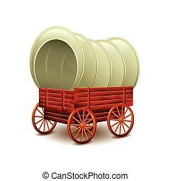 chariot, blanc, vecteur, vieux, isolé