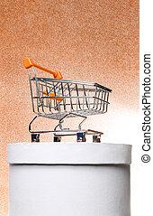 chariot, boîte, achats, cadeau, été, ensoleillé, soleil., chaud, fond, orange, blanc, brillant, rond