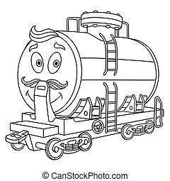 chariot, coloration, réservoir, rail, carburant, page