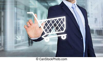 chariot, concept, achats, -, Toucher, ligne, interface,...
