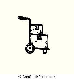 chariot, contour, simple, symbole., main, livraison, vecteur, arrière-plan noir, dessiné, blanc, illustrator., icône