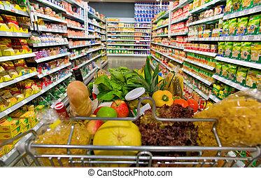 chariot, dans, a, supermarché