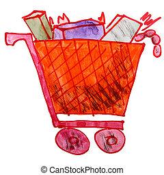 chariot, dessin, aquarelle, produits, brin, enfants, dessin ...