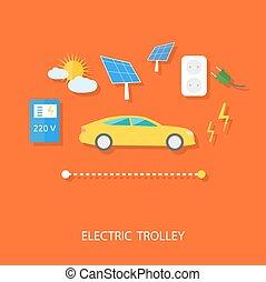 chariot, eco, énergie, concept, électrique