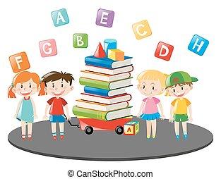 chariot, entiers, livres, enfants