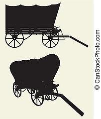 chariot, entraîneur, occidental, étape