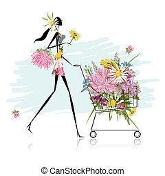 chariot, floral, femme, conception, ton