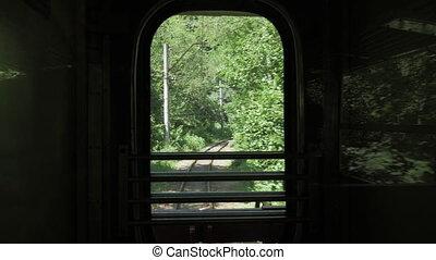 chariot, géorgie, dernier, -, fenêtre, train, par, retro, vue