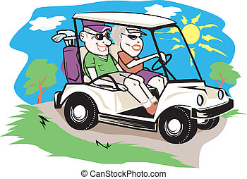 chariot golf, couple