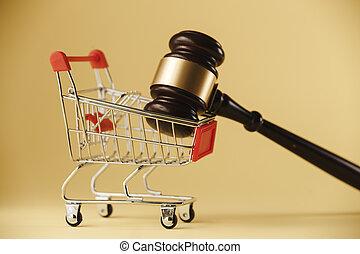 chariot, gros plan, droits, marteau, protection., arrière-plan., juge, blanc, consommateur