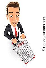 chariot, homme affaires, supermarché, 3d