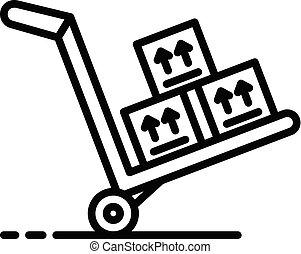 chariot, icône, style, marchandises, contour