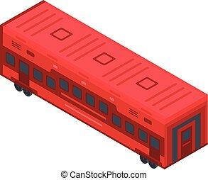 chariot, isométrique, style, train, icône, rouges
