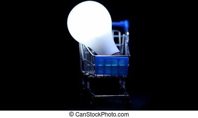 chariot, jouet, achats, lampe électrique, blanc
