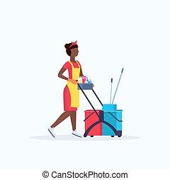 chariot, nettoyeur, tenue femme, service, plat, américain, charrette, uniforme, longueur, concept, entiers, nettoyage, africain femelle, fournitures, concierge