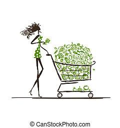 chariot, nourriture, achats femme, supermarché