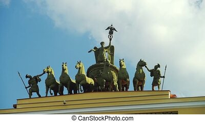 Chariot of Fame monument at General Staff Buildint in St....