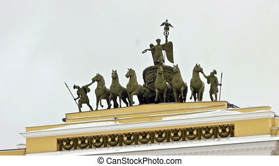 Chariot of Glory on the General staff arch, St. Petersburg, Russia
