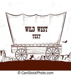 chariot, ouest, prairies.vector, illustration, américain, fond, sauvage