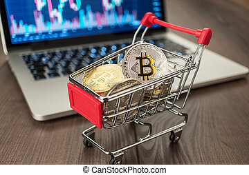 chariot, pc, achats, bitcoins