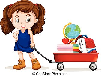 chariot, peu, entiers, école, objets, traction, girl