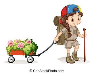 chariot, peu, fleurs, traction, girl