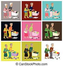 chariot, plat, montage, icônes, produits, retraités