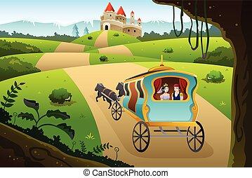 chariot, prince, princesse, équitation