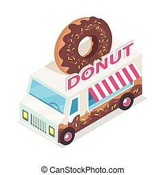 chariot, projection., isométrique, beignet, beignet