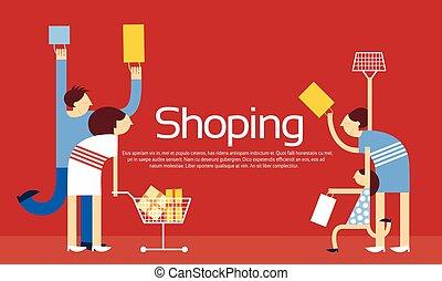 chariot, sacs, achats, famille, vente, escompte