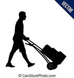 chariot, silhouette, livraison, boîtes, porter, homme