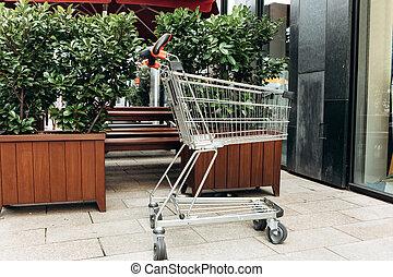 chariot, store., entrée, achats