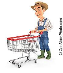 chariot, supermarché, paysan, pousser, 3d