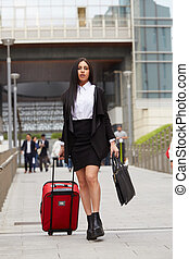chariot, urbain, marche, femme affaires, environnement, sac