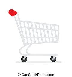 chariot, utilisé, icon., supermarché, charrette, achats, ...