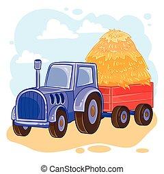 chariot, vecteur, tracteur, dessin animé, illustration